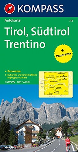 Carta panoramica n. 358. Tirolo. Alto Adige, Trentino-Tirol, Sdtirol, Trentino 1:50.000. Con carta stradale