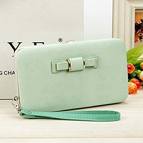 The New Lady Purse, Korean Version, Long Mobile Phone Bag, Butterfly Knot Lunch Box, Hand Bag,Jade Vert