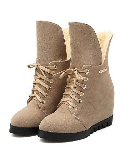 ShangYi Mode Frauen Schuhe Damen Stiefel Winter Outdoor / PU Stiefel Kleid / And Flat Ferse schwarz / Mandel / Coral Wandern Mandel
