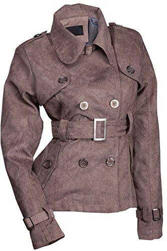 ZEARO Übergangsjacke Damen Trenchcoat Wildlederimitat Mantel Kurz mit Gütel Elegant Grau