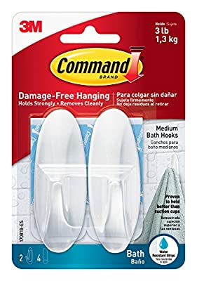 Command Hooks with Water Resistant Strips - Medium…