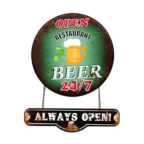 Pide X esa Boca HF386 - Cartel Chapa Decorativa Beer Always Open Colgante 40x43 color verde