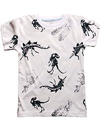 Gold Treasure Niños algodón Corto Manga Sudaderas Dibujos Animados Dinosaurios Camiseta Tops Pijamas para niños de