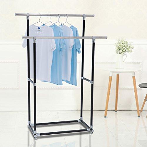 Kleiderständer, Bodenbalkon-Wäscheständer, Bügelständer, einfache Doppelstangenbekleidung