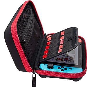 ButterFox Deluxe Nintendo Switch Reisetasche Tasche mit Ablageraum für offizielles Netzteil und 9 Game Card Slots – 【Rot / Schwarz】Genügend Platz für Nintendo Switch-Netzteil, Joy-Con-Controller, Joy-Con-Handgelenksschlaufen, Kabel.