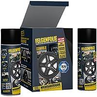 mibenco 61001203 71001203 Set, FELGENFOLIE Set, 4 x 400 ml, Schwarz Glänzend - Original 4er Set - Flüssiggummi…
