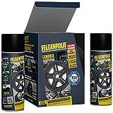 mibenco 71001203 FELGENFOLIE Set, 4 x 400 ml, Schwarz Glänzend - Original 4er Set - Flüssiggummi/Sprühfolie - Farbe und Schutz zum Felgen lackieren