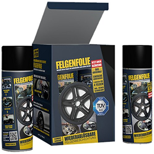 mibenco 71001203 FELGENFOLIE Set, 4 x 400 ml, Schwarz Glänzend - Original 4er Set - Flüssiggummi / Sprühfolie - Farbe und Schutz zum Felgen lackieren