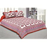 Nutlase 100% Cotton Double Bedsheet And 2 Pillow Cover Red And White Printed Color