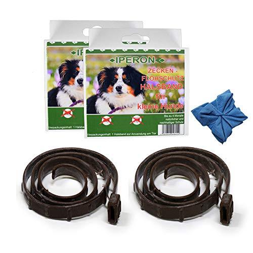 Lyra Pet 2 x Iperon Bio Flohhalsband klein 60 cm Zeckenhalsband für Hunde + Tuch
