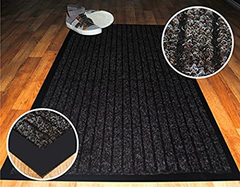High Quality Deluxe Medium (50 X 80 cm) Brown Ribbed Doormats. Machine Washable Entrance Door Mat suitable Kitchen doormats, entrance mats, washable mats, office mats, dirt trapper mats, dust mats, Dust control doormats, barrier mats, floor mats, dust control floor mats. These rubber edge anti-slip floor mats are among the best dust trappers mats and can be used at office reception, restaurants, food shops, takeaways, barber shop, post offices and off licence