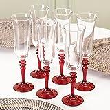 Schöne klassische Scarlet Rot Stiel Champagner Glas Flöte. Ideal für das Hinzufügen einen Spritzer Farbe zu Ihrem Wohnzimmer.–Kapazität 17cl, glas, red and clear, Set of 6 - Scarlet Red Stem Champagne Glass Flute
