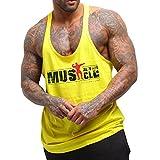 Alivebody Herren Bodybuilding Tank Top 2cm Strap Fitness Stringer Sportshirt Gelb, L: Brust 105-115 cm