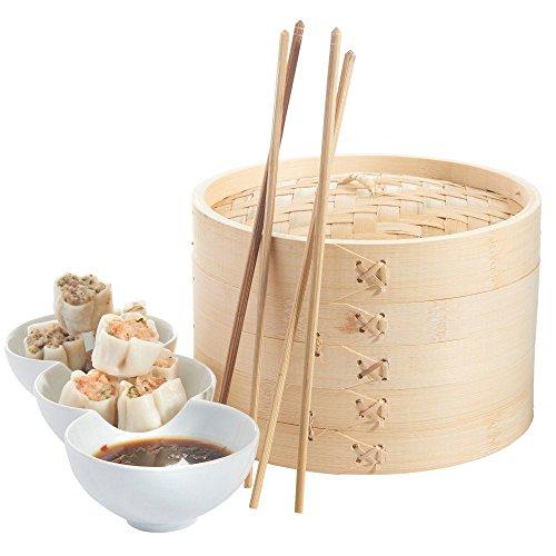 Bambusdämpfer Set, Frideko 3tlg. Bambusdämpfer Set - 2x Etagen, 1x Deckel (ø 13,5cm)für Reis Dim Sum Dumpling Jiaozi