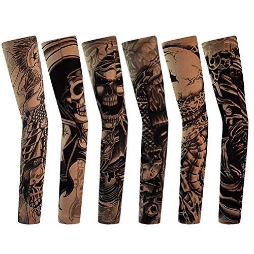 Temporäre Tattoo Ärmel Gefälschte-Slip Tattoo Sleeves Körperkunst Sonnenschutz Arm Strümpfe Zubehör - 6 Stück (Griffe Tattoo Nylon)