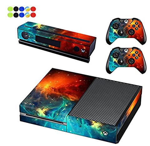 Skin for XBOX ONE - Morbuy Vinyl peau Protective Autocollant Decal Sticker pour Microsoft XBOX ONE console + 2 Autocollant Manette et 1 autocollant Kinect Set + 10pc SiliconeThumb Grips (Ciel Orange)