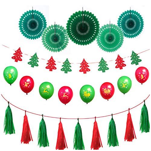 Minleer Milner Weihnachtsfeierdekoration (30 Stück), All in One Weihnachtsdekoration mit Latexballons, Weihnachtsbaum, hängende Quaste, Fächerblume
