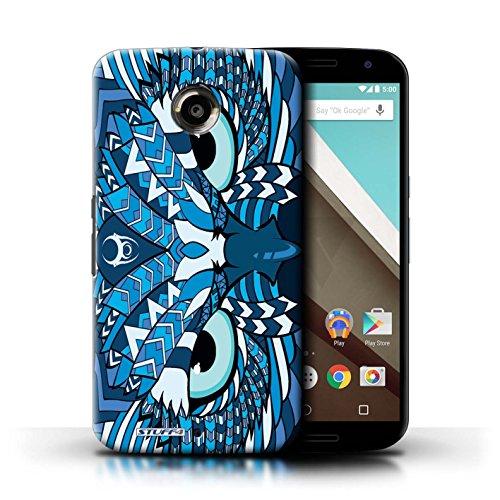 Kobalt® Imprimé Etui / Coque pour Motorola Nexus 6 / Loup-Couleur conception / Série Motif Animaux Aztec Hibou-Bleu
