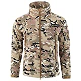 Softshelljacken Wasserdicht Regenjacken Übergangs Jacken Herren Outdoorjacke Parka Mit Kapuze Herbst Hooded Freien Mantel Winddichte Funktionsjacke, Camouflage Uniform SAMT (Khaki,Medium)