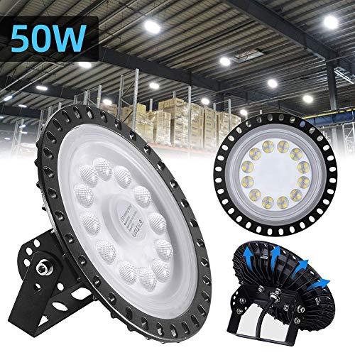 UFO LED Industrielampe, 50W LED Hallenleuchte Industrial Kronleuchter Hallenstrahler Hallenbeleuchtung Werkstattbeleuchtung Werkstattlampe, Kaltweiß 6000-6500K, Abstrahlwinkel 120°