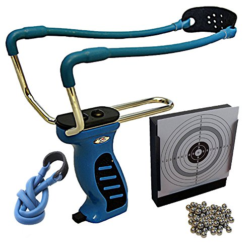 Steinschleuder, Sportschleuder, Zwille Big Blue Quick Shot mit Kugelmagazin f. 15 Stahlkugeln 8 mm + Ersatzgummi + 100 Stahlkugeln 8mm + Kugelfang 14x14cm + 25 ShoXx.® shoot-club Zielscheiben