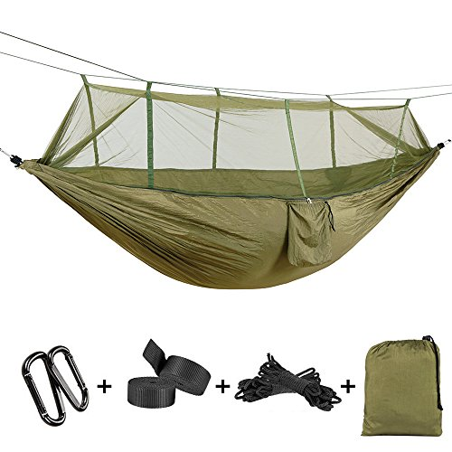 ATLES Bequeme Hängematte - 2 Person Hängematte Hochstarke Fallschirm Stoff mit Moskitonetz für Outdoor Camping, Yard Napping (55'' x 102''(140 x 260cm), Armee-grün)