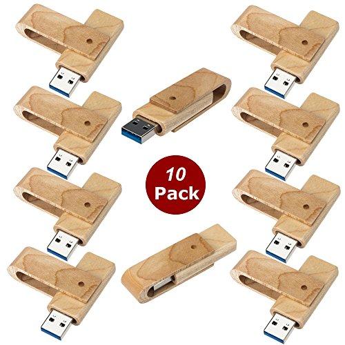 A Plus+ 10 Stück Einklappbarer 16GB Hölzern USB-Flash-Laufwerk Drehen USB-Sticks Flash Drive (10er Pack)