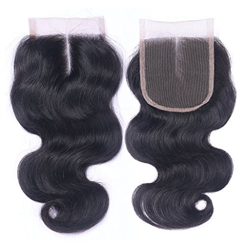 partie du milieu Naturel Noir 100% cheveux naturels vierges Fermeture Dentelle Suisse sur le dessus blanchis 10,2 x 10,2 cm Body Wave