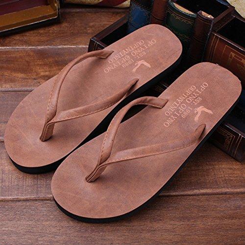 Estate Sandali Uomini e donne Flip flops all'aperto in pelle morbida Pattini ciabatte da spiaggia colorate / sandali piatti Colore / formato facoltativo Marrone