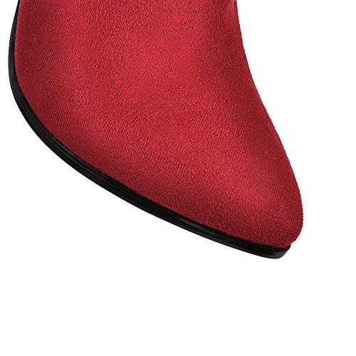 AllhqFashion Femme Haut Bas Zip à Talon Haut Pointu Bottes Rouge
