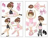 plot4u 14-Teiliges Rosa Ballerina Mädchen Wandtattoo Set Pink Kinderzimmer Babyzimmer Ballett in 5 Größen (2x21x34cm Mehrfarbig)