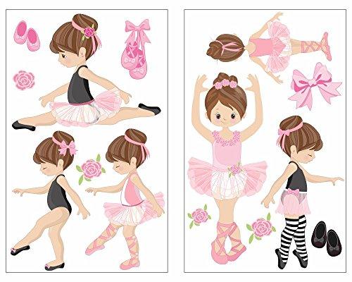 14-teiliges Rosa Ballerina Mädchen Wandtattoo Set Pink Kinderzimmer Babyzimmer Ballett in 5 Größen (2x21x34cm mehrfarbig)
