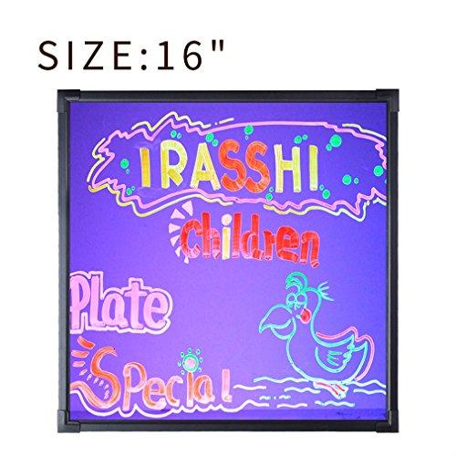 LESHP Tableau Mémo en Verre Noir Tableau lumineux à LED Ardoise lumineuse fluorescent à LED Tableau Enfant Ardoise Murale Mémo Enfant Tableau Ardoise Décoration Maison (16\