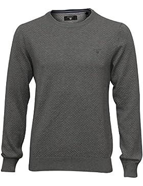 Mezcla De Gant Punto Textura Cuello De Los Hombres Suéter Gris