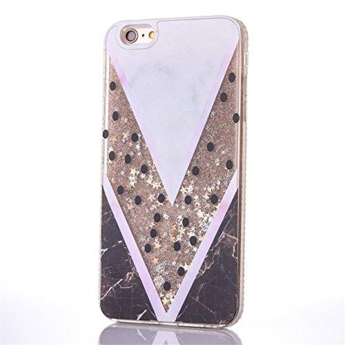 iPhone 6/6S 4.7 Hülle, Voguecase Flüssig Diamant Treibsand Silikon Schutzhülle / Case / Cover / Hülle / TPU Gel Skin für Apple iPhone 6/6S 4.7(Regenbogen Einhorn 03 / Pink) + Gratis Universal Eingabes V-förmiger Marmor / Gold