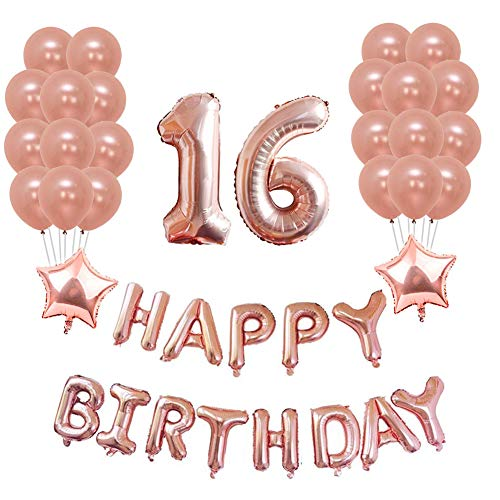 Yoart 16. Geburtstag Dekorationen Rose Gold Geburtstagsparty Dekorationen Sets Alles Gute zum Geburtstag Banner, 20 Stück Latex Party Ballons Geburtstag Party Supplies Dekor für Mädchen (Geburtstagsparty Dekoration Für Eine)