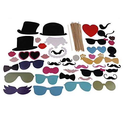 HITSAN INCORPORATION Halloween Christmas Wedding Decoration 44Pcs DIY Christmas Party Photo Booth Props Mask Mustache Glasses Funny Camera Props