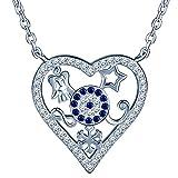 SIXLUO 925 Sterling Silber Zirkonia Anhänger Halskette, Damen Kette, Stern Unendlichkeit Schneeflocke Tefel Auge Herzkette