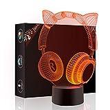 Orejas de gato auriculares 3d Illusion óptico lámpara luz nocturna, Jawell 7 cambia de color táctil interruptor lámparas de mesa decoración de escritorio, regalo perfecto de Navidad