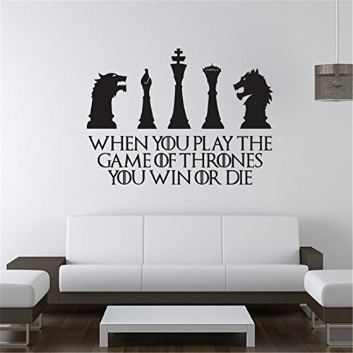 Wandaufkleber Schlafzimmer Vinyl Peel and Stick Mural Decals When you play the game of thrones you win or die for living room bedroom (Peel-stick Vinyl)