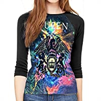 Queen Rock Band Freddie Mercury S Womens 3/4 Sleeve 3D Baseball T-Shirt 3D Print Sports Raglan Tee Shirts