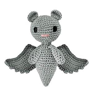 LOOP BABY – gehäkelte graue Fledermaus Felix – Kuscheltier Fledermaus aus Bio-Baumwolle – Stofftier für Jungen & Mädchen