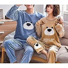 SY Pijamas de Pareja/Traje de Lana de Coral de Otoño E Invierno para Mujer