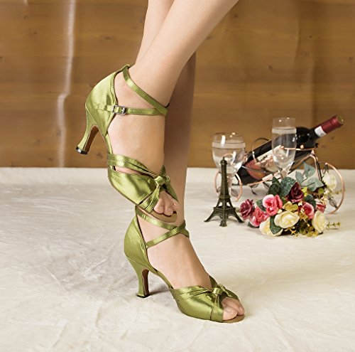 Noeud Satin Minitoo Chaussures de danse pour femme Vert - vert