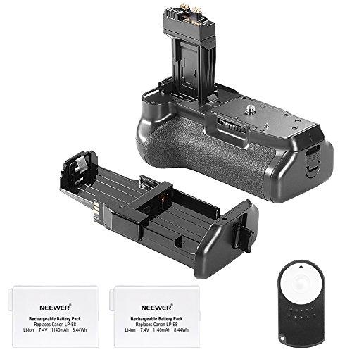 Neewer® Batteriegriff Akkugriff Battery Grip wie der BG-E8 für Canon 550D / 600D / 650D / 700D Rebel T2i / T3i / T4i / T5i + 2 * Ersatz-Akku 7,4V 1350mAh LP-E8 Akku + Infrarot-Fernbedienung