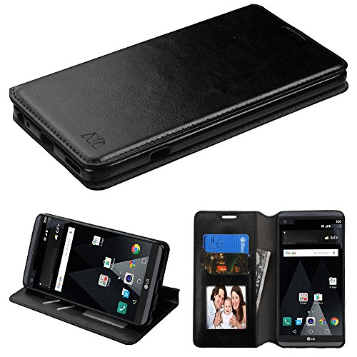 Schutzhülle + Eingabestift Passend für LG V20MYBAT MyJacket PU Leder Wallet Flip Wallet-Black mit Tablett und Kreditkarte Slots