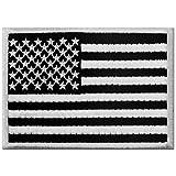 Tattico Bandiera Americana Stati Uniti d'America Emblema Nazionale Termoadesiva Cucibile Ricamata Toppa, Bianco nero