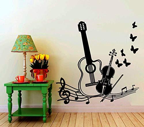 alicefen Heißer Musikinstrumente Mit Vögeln Schmetterlinge Silhouette Kunst Wandtattoo Home Modern Style Fashion Decor Aufkleber 45 * 45 cm