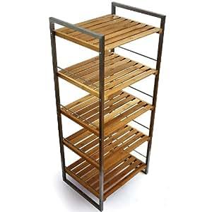 meuble de rangement etag re salle de bain bambou
