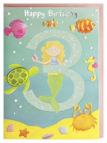 Geburtstagskarte 3. Geburtstag Mädchen Meerjungfrau